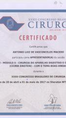 Certificado – XXXII CBC – Apresentador – temas boas vindas