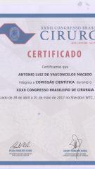 Certificado – XXXII CBC – Comissao Cientifica
