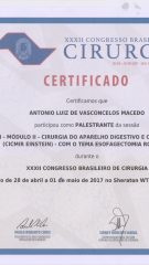 Certificado – XXXII CBC – Palestrante Esofagectomia Robotica