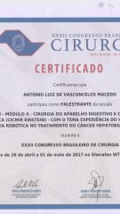 Certificado – XXXII CBC – Palestrante cancer hepatobiliopancreatico