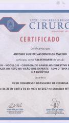 Certificado – XXXII CBC – Palestrante mesa redonda manejo do cancer de reto