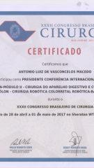 Certificado – XXXII CBC – Presidente conferencia internacional