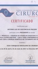 Certificado – XXXII CBC – Presidente conferencia internacional universidade de Chicago