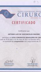 Certificado – XXXII Congresso Brasileiro de Cirurgia